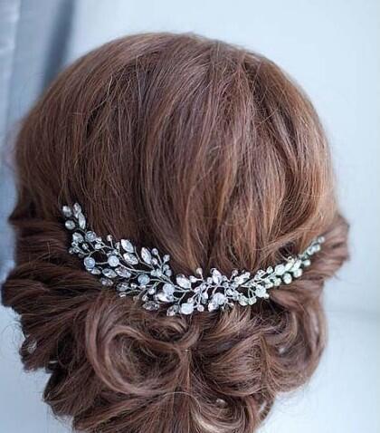 Clear Crystal Rhinestone Flower Wedding Hair Accessory