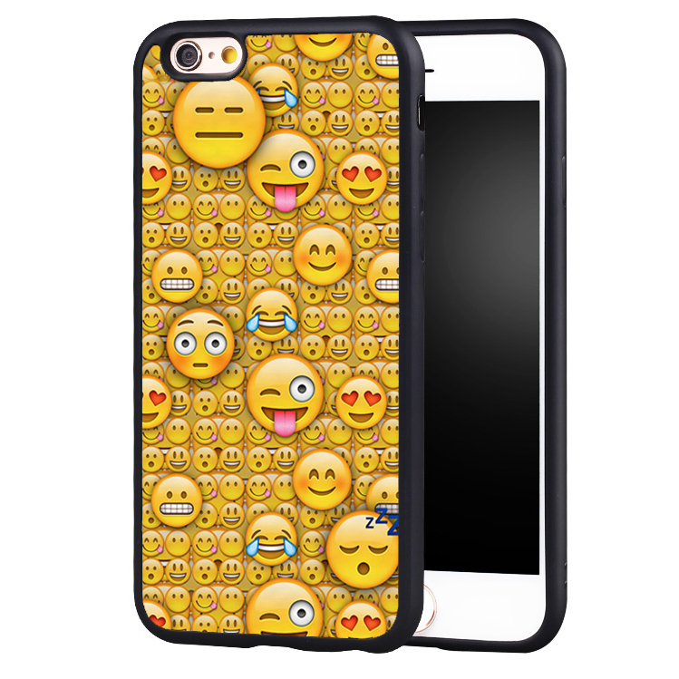 Smiley Face Emoji Collage Print Soft Rubber Mobile Phone Cases Accessories For iPhone 6 6S Plus SE 5 5S 5C 4 4S Back Shell Cover