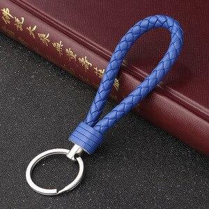 Handgemachte Gestrickte Seil, Der Leder Seil Keychain für Frauen Männer Seil für hängende taschen Schlüssel Kette Porte Clef Chaveiro Schlüsselanhänger
