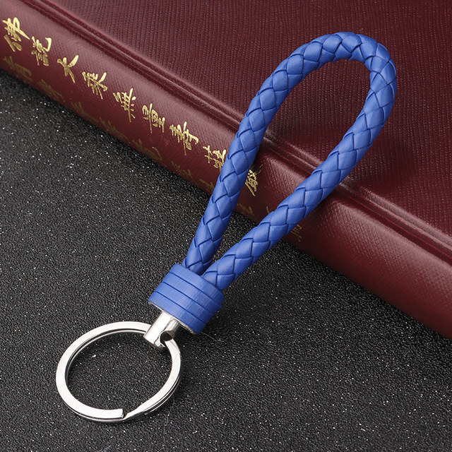 Handmade Knitted Rope Making Leather Rope Keychain for Women Men Rope for hanging bags Key Chain Porte Clef Chaveiro Keychains 2