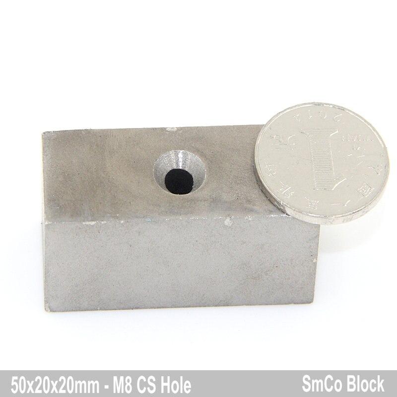 1 шт. SmCo Магнитный блок 50x50x20 мм M8 с потайной отверстия класса YXG28H 350 градусов с высокой Температура постоянных редкоземельных магнитов