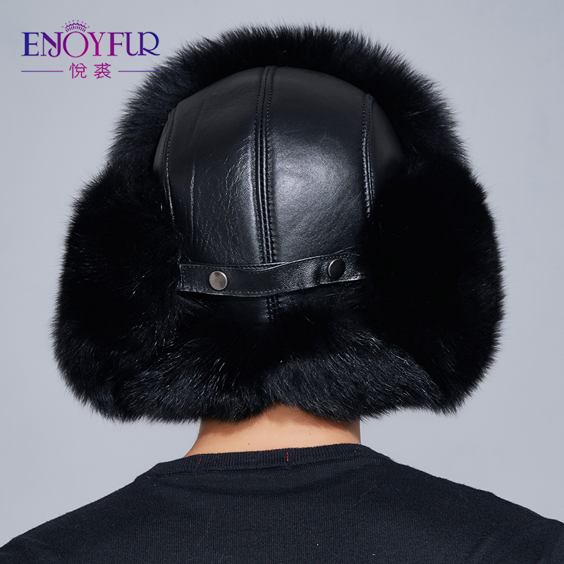 5410aed64ad ENJOYFUR winter hat earflap men real fox fur hats russian ushanka fur  protect ear warm enough high quality bomber hat FXM17504-in Bomber Hats  from Apparel ...