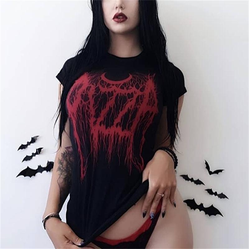 Gothic Dark Black Skinny Grunge Print T-shirt Goth Harajuku Fashion Street Summer 2019 Women Tshirts O-neck Aesthetic T Shirt