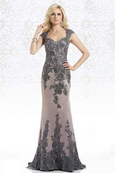 Plus Size 2019 Mother Of The Bride Dresses Mermaid Cap Sleeves Lace Beaded Long Wedding Party Dresses Mother Dresses For Wedding