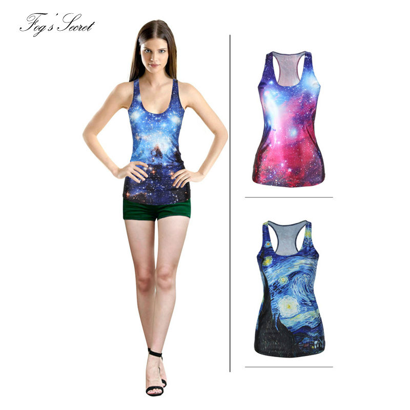 2018 Summer Woman Simple Vest Tanks Top Sleeveless Long Style Beautiful Starry sky Digit ...