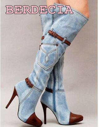 hot selling cutouts denim blue patchwork long boots 2017 woman sexy knee high pointed toe high heel shoes thin heels boots hot selling 2015 women denim boots pointed toe tassel patchwork knee high boots crystal thin high heels winter motorcycle boots