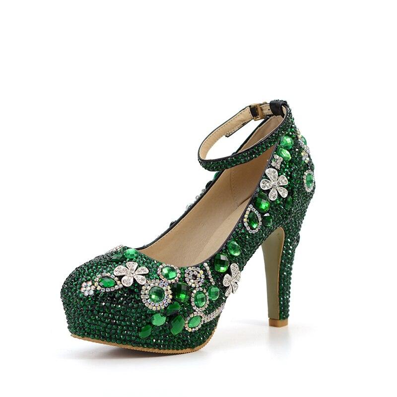 Chaussures Émeraude Main Mariage Cheville Bag Green Talon Assorti À Bal Sac With Purs Strass Mode Avec De Vert 2018 10cm Épais Parti Bride La I8w0S