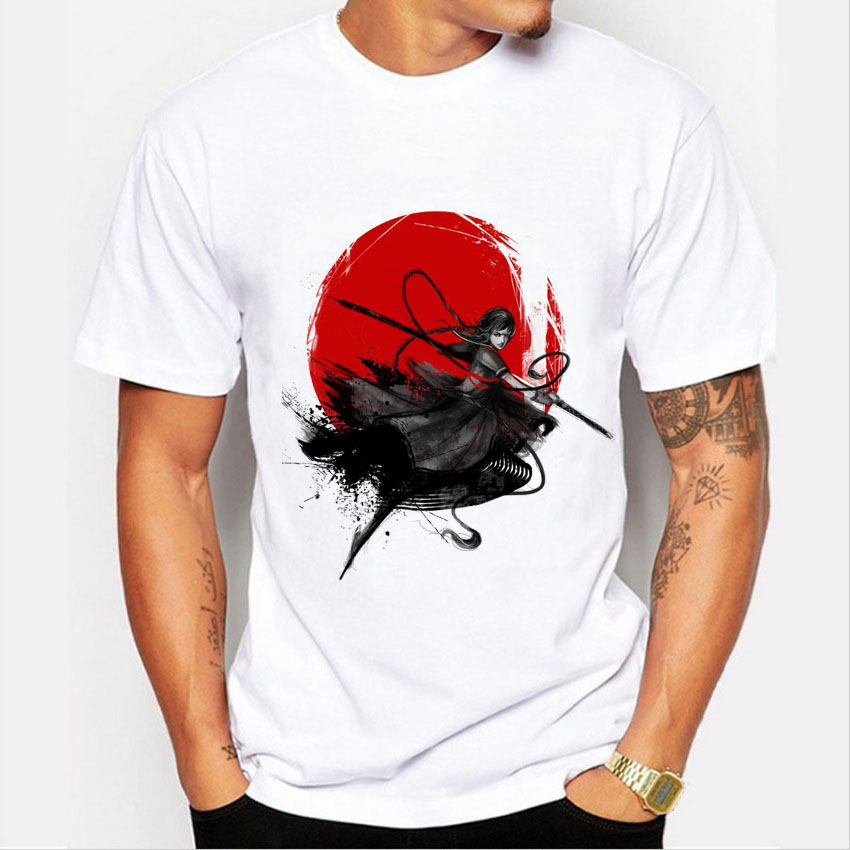2017 new arrival men t shirt fashion Japanese Samurai printed tshirt homme camisetas summer funny anime t-shirt short sleeve top
