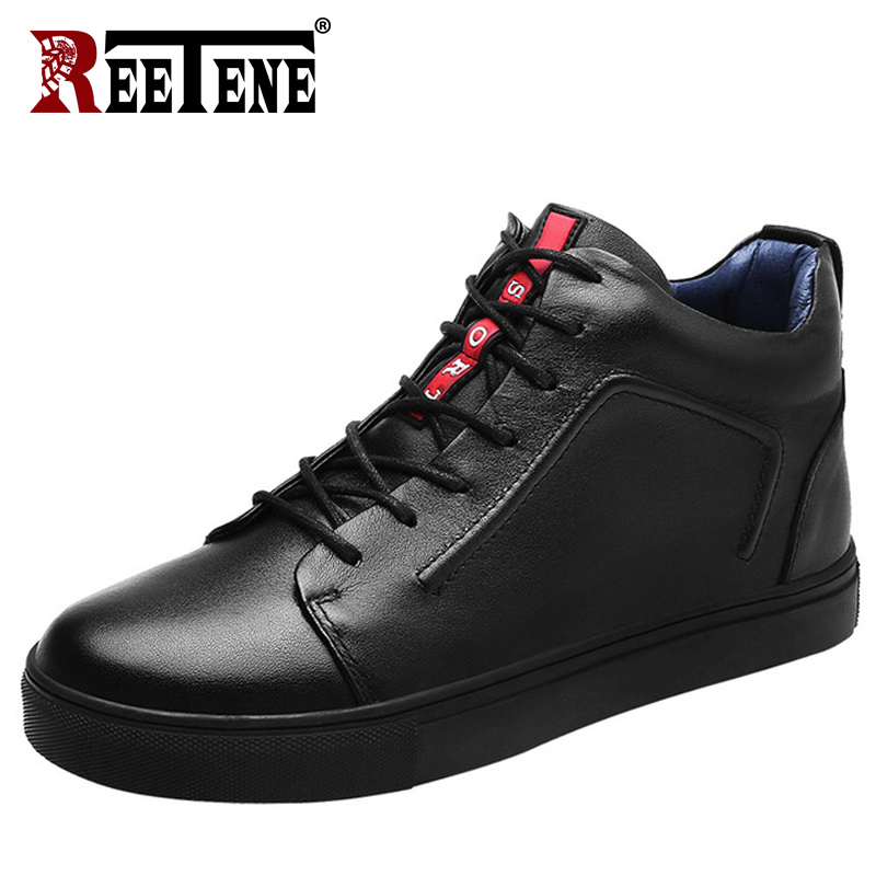 REETENE Genuine Leather Men'S Boots High Quality Fur Casual Shoes Men Plush Men Ankle Boots Winter Autumn Leather High Top Shoes autumn warm plush winter shoes men zipper 100% genuine leather boots men thick bottom waterproof black high top ankle men boots