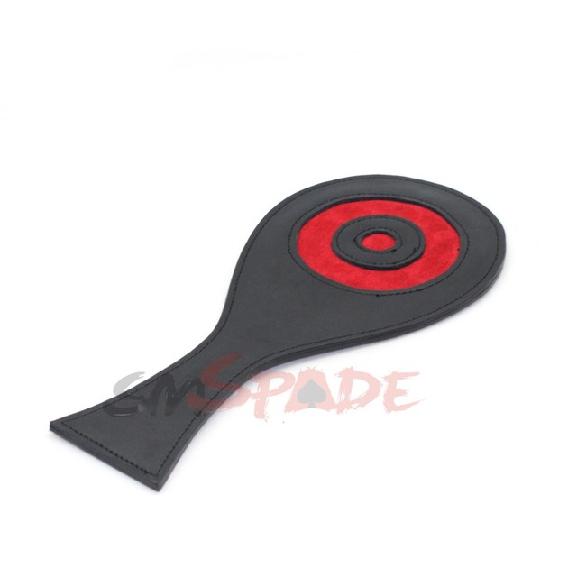 Smspade 28CM Black&Red real leather Paddle, Restraint Spanking Hand Clapper Spanker Massaging Paddle Sex Toys for Couple