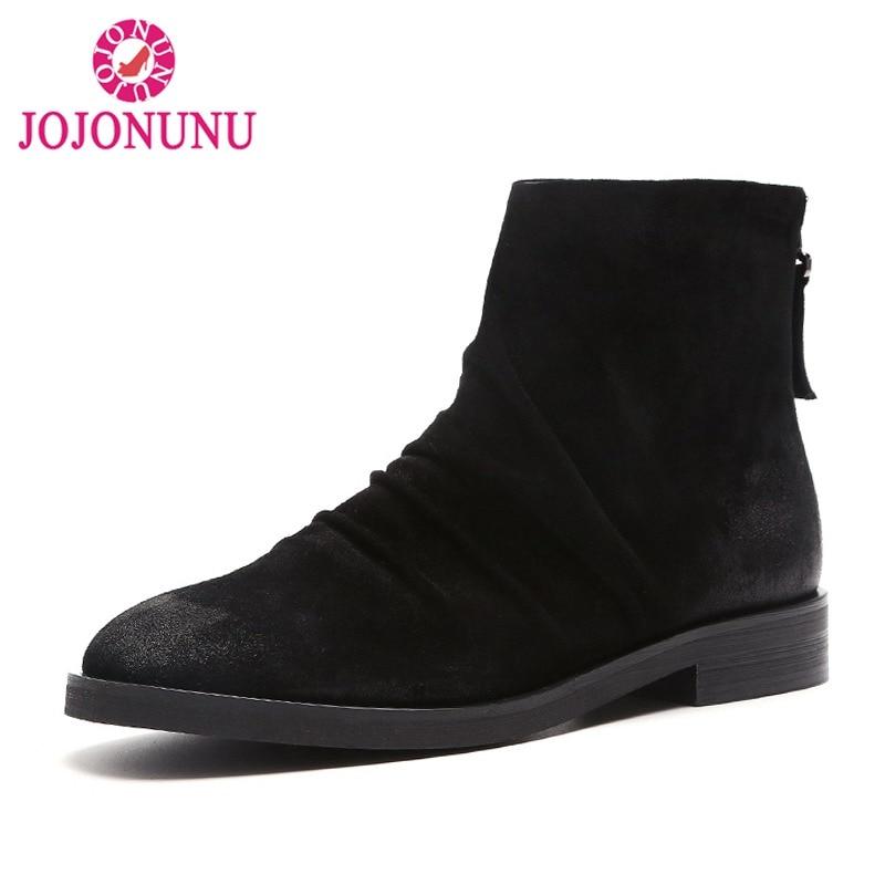 Cheville Cuir Noir Véritable Jojonunu Bout En Chaussures 40 Appartements De Mode Hiver 33 Bottes Taille marron Femmes Zipper Rond Automne nxSSg5