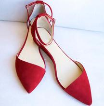 Faux Suede Leather Women Pointy Toe Ballet Flats Elegant Style Thicken Ankle Buckles Ladies Dace Shoes