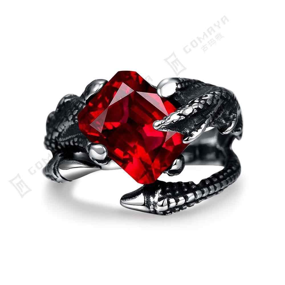 男性メタルシルバー赤ジルコンドラゴン爪調節可能なカップルバイカーリングパンクスカルジュエリー男性と女性