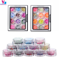 12Pcs Set Nail Jewelry Mixed Nail Pearl Sequins Film DIY Nail Art Decoration Design 3D Rhinestone