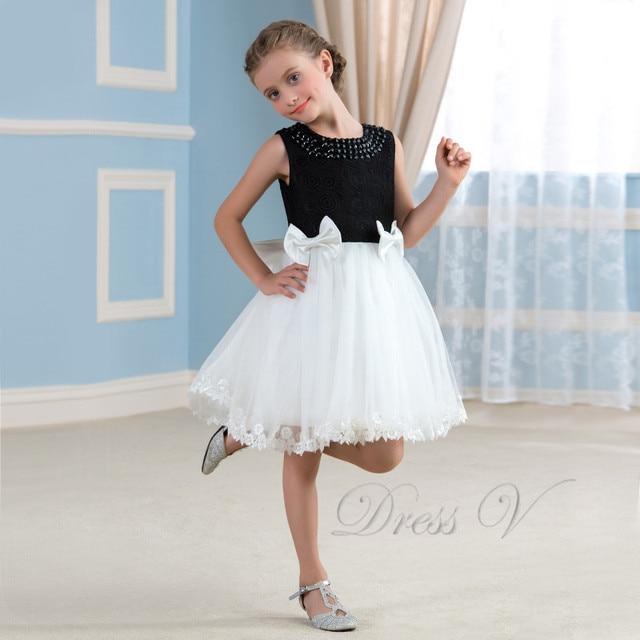 Black And White Lace Flower Girl Dresses For Weddings Beaded Tulle ...
