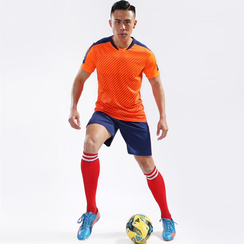 Football Men Jersey Training Sport Set Kits Team Customize V Neck Short  Sleeve + Shorts Running 10665d3b1