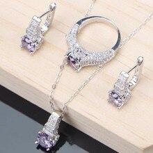 Purple Cubic Zirconia Inlaid Jewelry Set