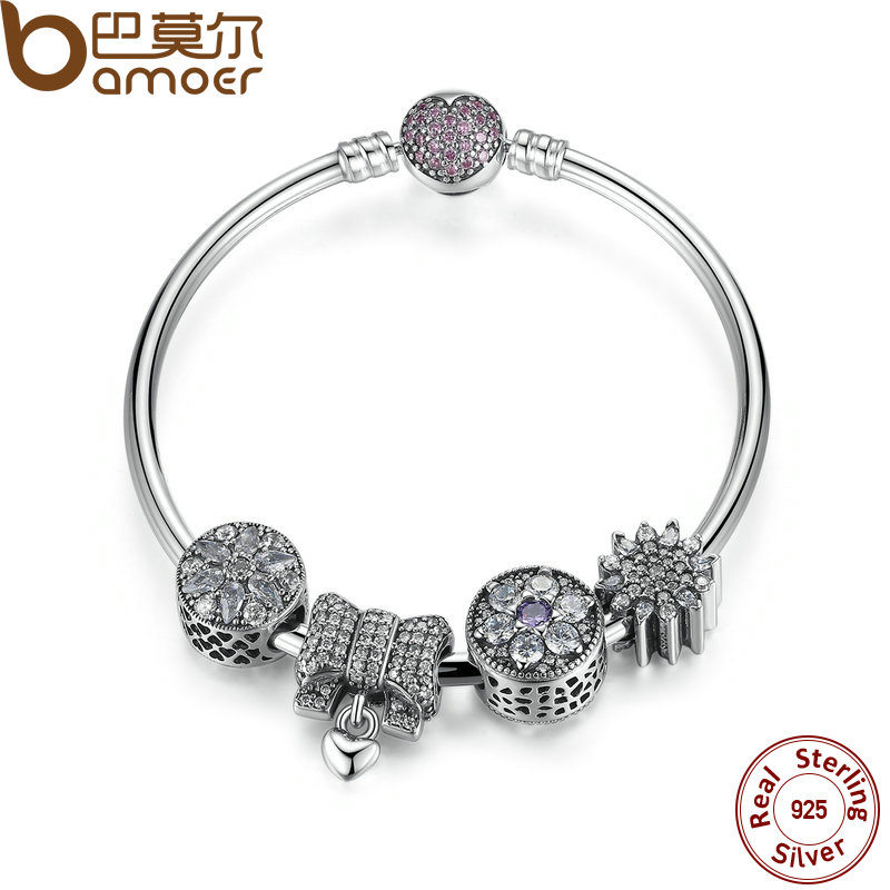 BAMOER New Collection Original 925 Sterling Silver Knot Heart Charm Bangles & Bracelet Romantic Wedding Jewelry PSB003