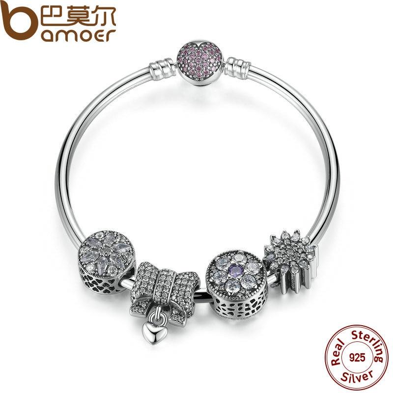 Bamoer nueva colección original Plata de Ley 925 nudo corazón encanto Brazaletes y pulsera romántica boda joyería psb003