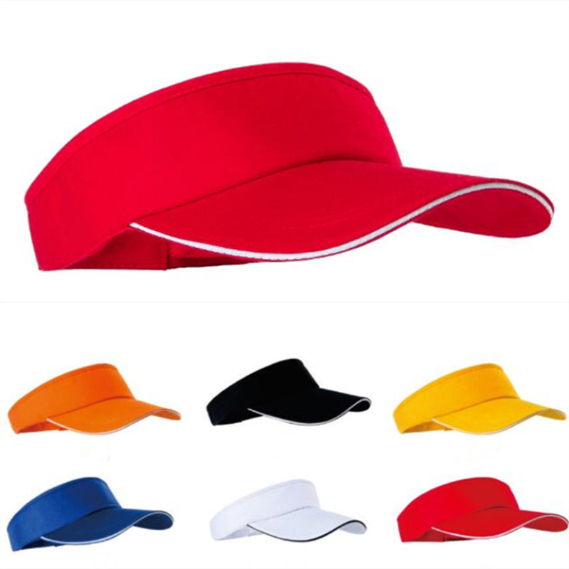 New Empty Top Hat Solid Color Men And Women Sports Tennis Cap No Top Visor Tennis Beach Hat Outdoor Sport Hat