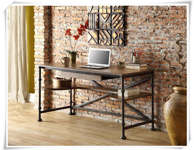 American Country Style Wrought Iron Fir Do The Old Antique Furniture Desk  Computer Desk Table Rustproof