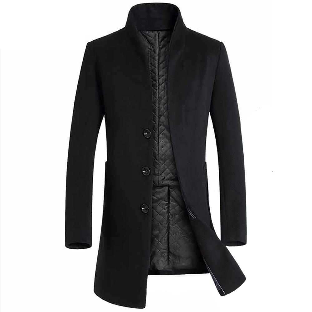 Nice Winter Men Casual Wool Trench Coat Business Thick Slim Overcoat Jacket Male Warm Men Jackets Overcoat Erkek Mont W84JK
