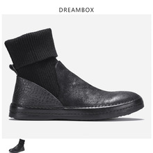 New Mens Boots Leather Retro Мартин сапоги High-top Knitted Socks Ankle Martin