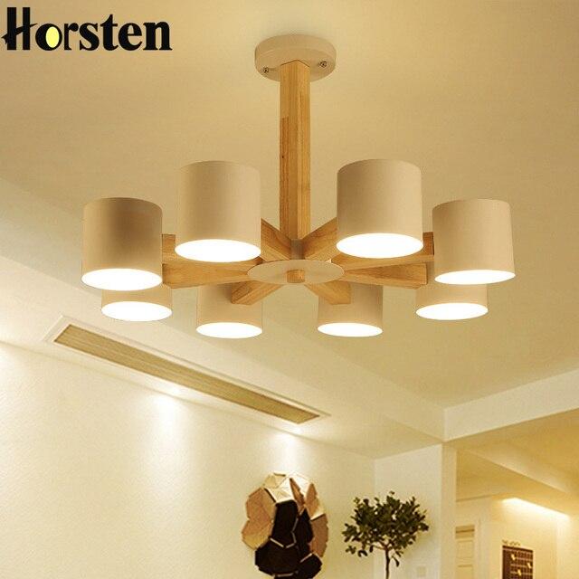 Horsten arte moderno de madera de roble colgante luces madera ...