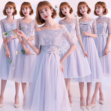 2018new Stock Plus Size Women Pregnant Wedding Party Bridesmaid Dresses Organza Sexy Romantic A Line Grey Lace Dresses Jyx8108
