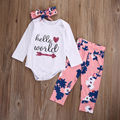Baby Girls Clothes Infant Set Hello World Romper Cotton Long Sleeve Baby Set Flower Pants Bow Headband New born Set