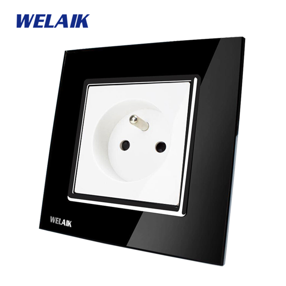WELAIK EU Wall Socket Wall Power Socket New Outlet French Standard Black Crystal Glass Panel AC 110~250V 16A  A18FB