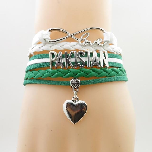 infinity love pakistan Bracelet heart Charm pakistan flag banner bracelets  & bangle for Women and men jewelry