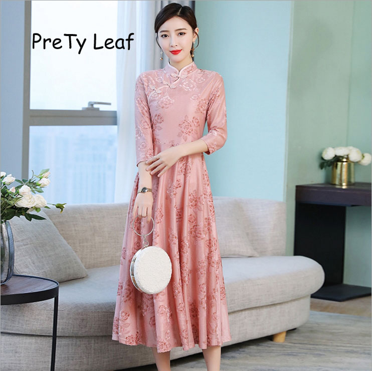 2019 spring new improved cheongsam large swing jacquard dress