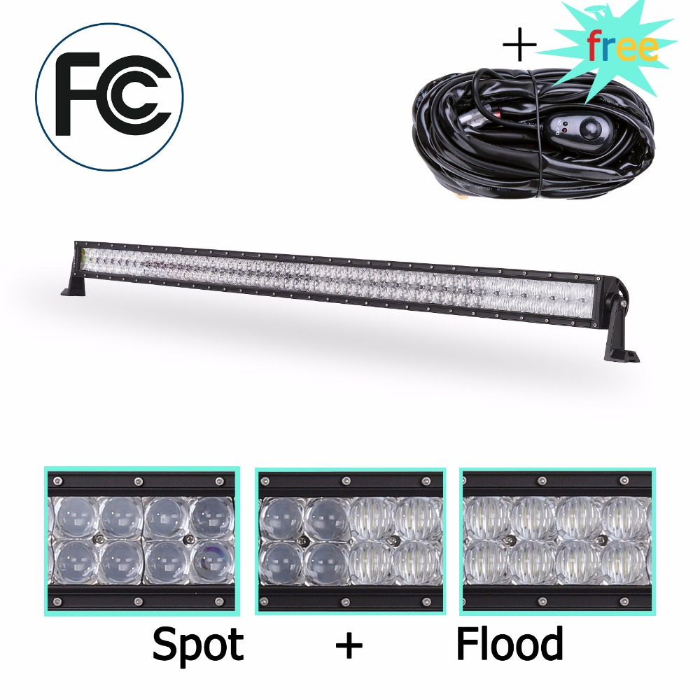 Low Cost Sginawd Led Work Light Bar 52inch 300w 5d Lens With Wiring Composite Harness For Ford Toyota Suv