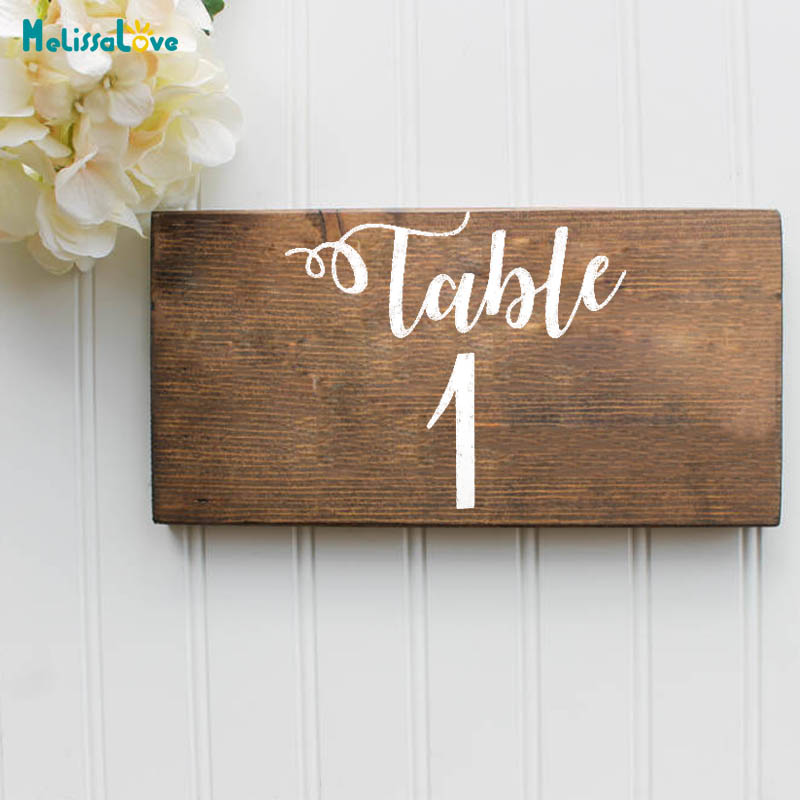 Custom Wedding Table Number Party Decor Sticker Vinyl Waterproof Laurel Wreath Decal Reception Sign B276