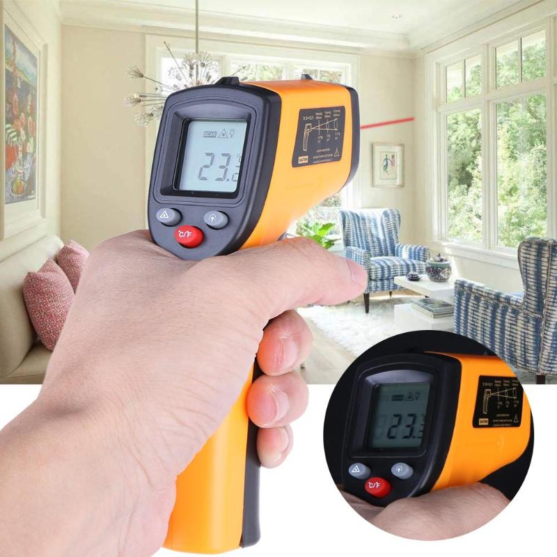 LCD Digital Infrared Thermometer Non Contact Pyrometer IR Laser Point Gun with Backlight -50~380degree For Industial Use benetech gm1650 infrared thermometer non contact pyrometer ir laser point gun with backlight 200 1650 degree for industial use