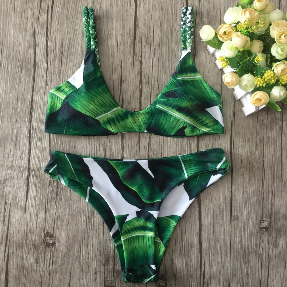 2019 Sexy Strappy Bikini Bandage Swimwear Leaves Tropical Swimsuit Retro Bikini Set Brazilian Bikinis Women Bathing Suit E968