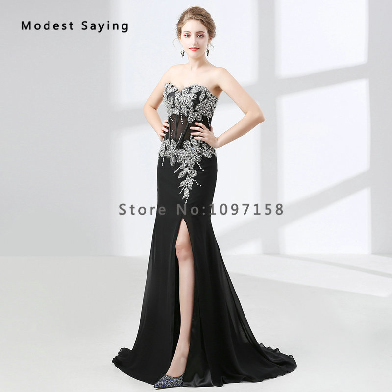 5a6c1a53e3 2018 Fashion Sexy Split Black Crystal Beaded Lace Evening Dresses Luxury  Mermaid Sweetheart Party Long Prom Gowns robe de soiree-in Evening Dresses  from ...