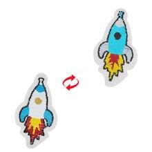 Shinequin мультфильм ракета откидные двусторонние патчи для