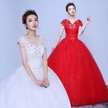 2019 Newest V-neck Short Sleeve Bow Belt Button A-Line Wedding Dress Quality Custom-made Bride Wedding Gown Vestido de Noiva