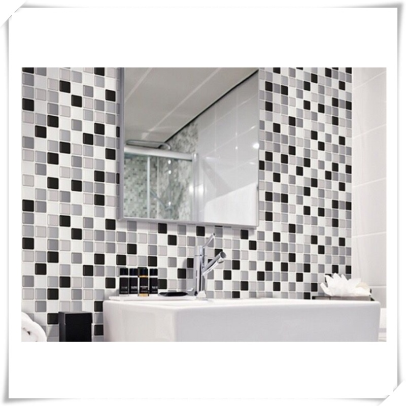 Minimalist 3D Peel and Stick Backsplash Removable Self Adhesive Mosaic Stone Tile Wall decal Sticker DIY Kitchen Bathroom Home Decor Vinyl in Wall Stickers from Home Elegant - Inspirational black mosaic tile Simple
