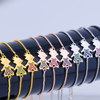 Ali Moda Dropshipping Micro Pave Cute Zircon Prince Figure Boys Charms Adjustable Link Chains Bracelets For