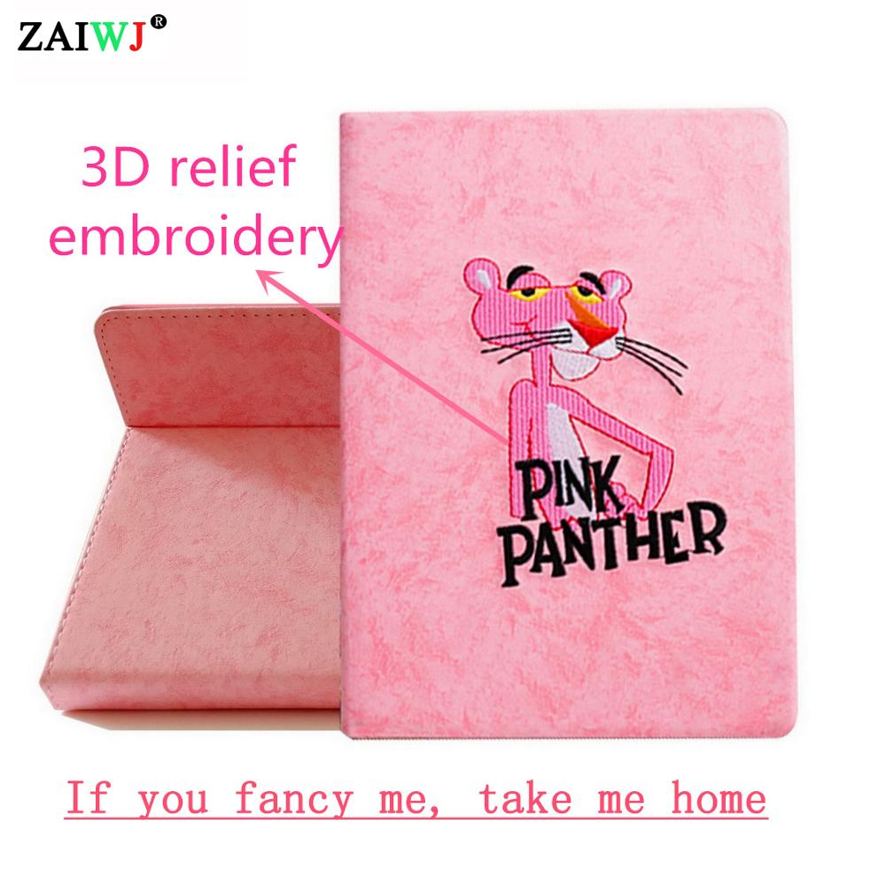Tablet Accessories Sweet-Tempered Case For Ipad 4 3 2 Zaiwj Smart Sleep Wake Up Flip Stand Leather Cover 3d Relief Embroidered Pink Panther Shell,for Ipad 2/3/4 Smoothing Circulation And Stopping Pains