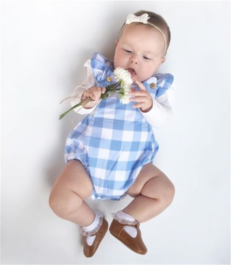 Summer 2018 Infant Newborn Baby Girls Kids Butterfly Sleeves Plaid Romper Backless Jumpsuit Clothes Sunsuit Outfits