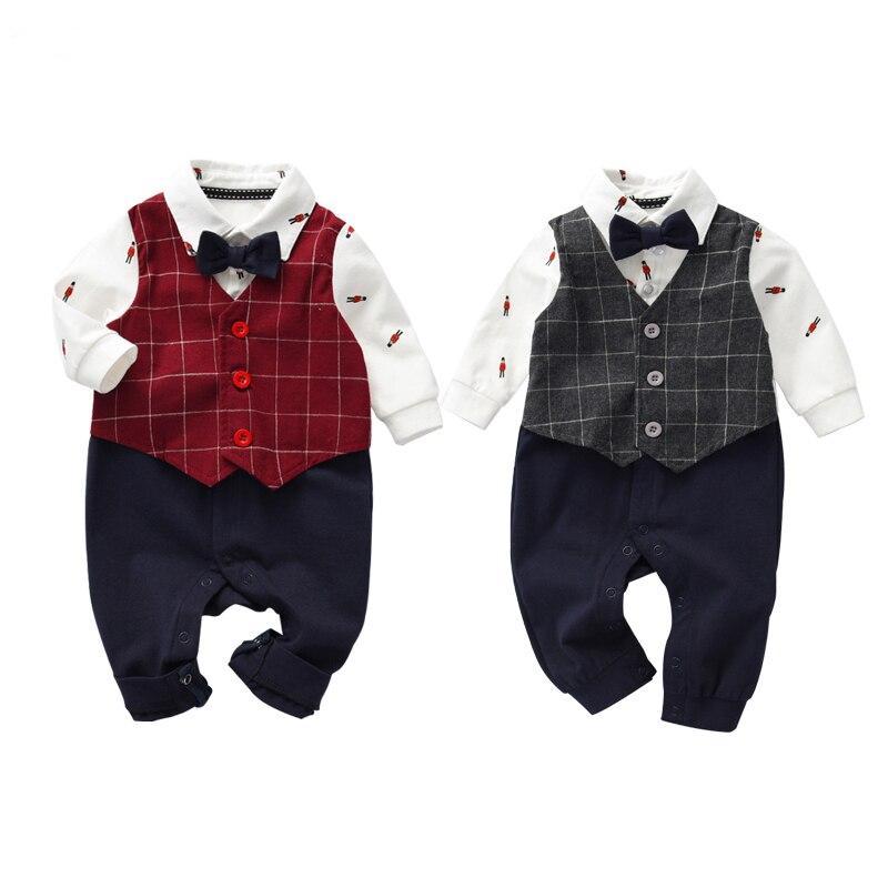 Primavera/Outono Moda Infantil roupas Terno Roupas Babyboy Set Cavalheiro Bow Tie Romper Do Bebê Criança Conjunto de Manga Longa