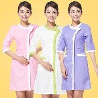2017 New arrive lab coat cotton medical nurse clothing spa uniform uniform women suit for dental clinic beautician 3 colors
