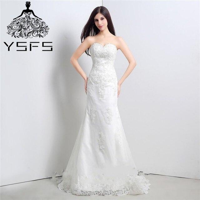 blanco marfil atractivo de la sirena vestidos de novia en stock
