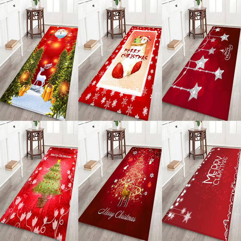 Christmas Soft Flannel Rug Xmas Pattern Area Mat Anti-Slip Rubber Backing Small Carpet For Bathroom Kitchen Christmas Decoration
