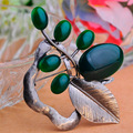 Russian Jewelry Colares Resin Jade Brooches Bouquet Fashion Women Vintage Broches Bijuterias Antique Silver Broche Brooch Pin