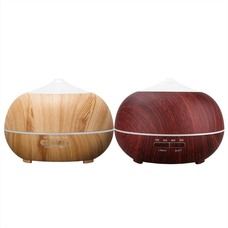 400ml Ultrasonic Color LED Wood Grain Timer Air Humidifier Aroma Diffuser vintage wood grain color block flannel rug